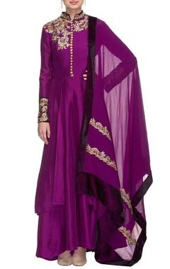 Manish Malhotra Purple resham embroidered kurta set