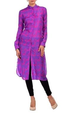 purple & fuschia animal motif printed tunic