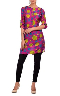 purple & yellow floral printed tunic