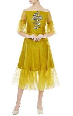 Rajat k Tangri Sulphur yellow tafetta & organza hand crafted colorful sequin & bead work off-shoulder dress