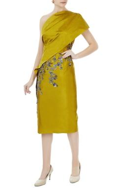 Rajat k Tangri Sulphur yellow tafetta hand crafted colorful sequin, bead work & nakshi toga draped dress