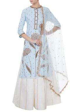 Rajat k Tangri Ice blue & white chanderi, tafetta & net hand crafted nakshi & sequin kurta with palazzos & dupatta