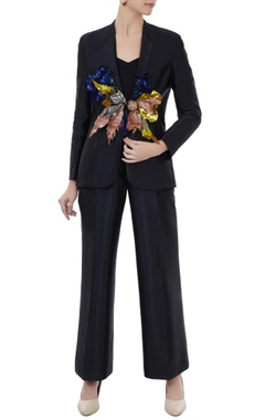 Black tafetta hand crafted colorful 3D sequin blazer with pants