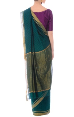 Green & turquoise striped handwoven sari