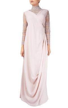 Reeti Arneja Pink georgette silk toga gown