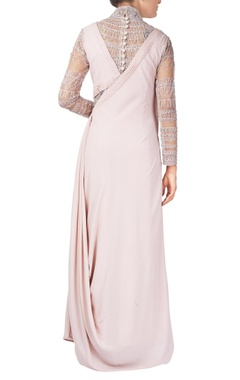 Pink georgette silk toga gown