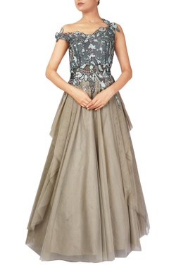Reeti Arneja Forest green hand crafted aari work organza & net gown