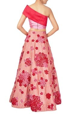 Pink & red raw silk rose motif lehenga with bow blouse