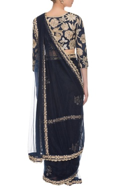 midnight blue embroidered two piece sari