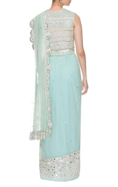 aqua blue embroidered two piece sari