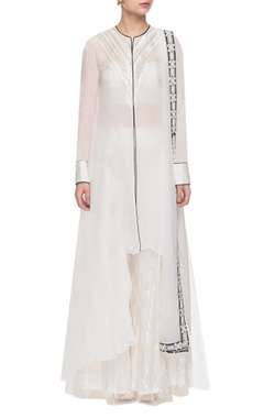 white mirror embellished kurta set