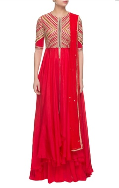 red embroidered kurta set