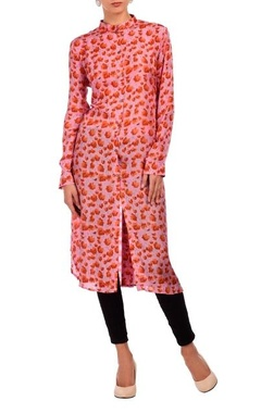 rose pink & coral floral printed tunic