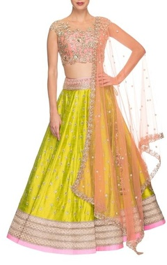 rose pink & lime green floral embroidered lehenga set