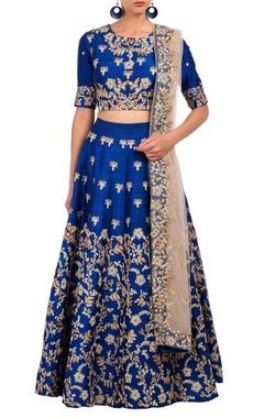Aneesh Agarwaal Royal blue floral embroidered lehenga set