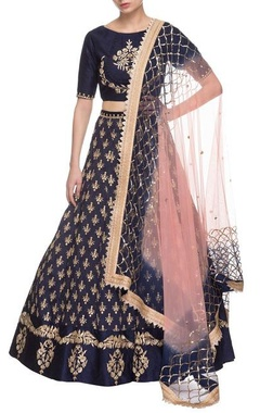royal blue & gold embroidered lehenga set