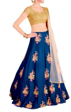 Royal blue & gold floral embellished lehenga set