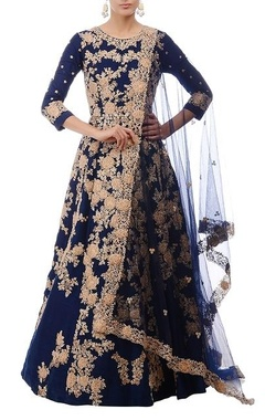 Royal blue & gold floral embroidered anarkali set