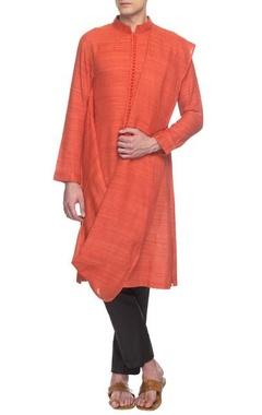 rust handloom draped kurta set