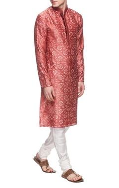 Rust red & white motif printed kurta set