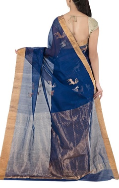 Navy blue deer chanderi sari
