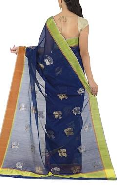 deep blue tree-nandi chanderi sari