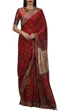 TARUN TAHILIANI Mukaish embroidered sari & hand painted blouse