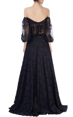Black lace lehenga set