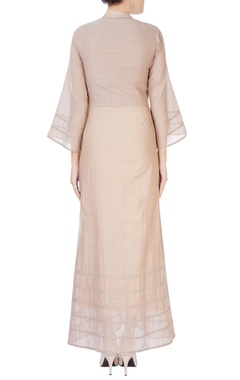 Beige maxi dress with flared sleeves