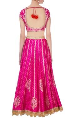 Pink & orange gota & thread embroidered lehenga set