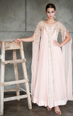 blush pink embroidered cape jacket with gown