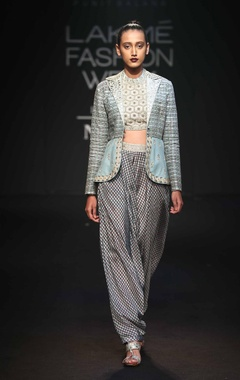 Crop top with peplum jacket & dhoti pants