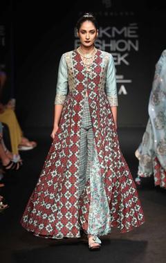 Punit Balana Front open long kallidar dress with pants