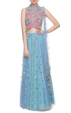 Sky blue lehenga set wit hear shape embellishments