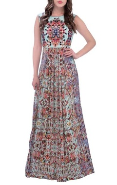 Sky blue maxi dress with floral print and embellishments