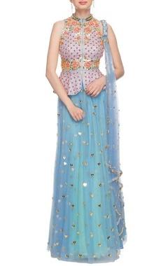 Sky blue & pastel blue embroidered lehenga set
