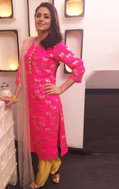 Hot pink printed kurta set