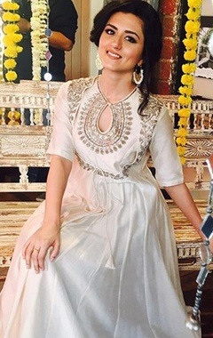Ivory embroidered anarkali gown