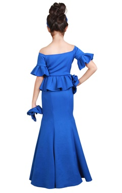 blue fishcut & peplum floor-length gown
