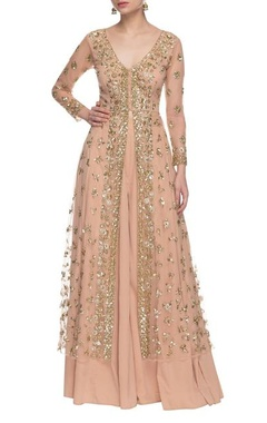 soft peach & gold sequin embellished palazzo set