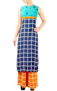 Blue & orange chequered kurta set