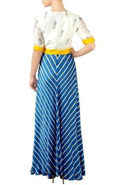 Blue & off-white jacket maxi dress
