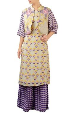 purple kurta and jacket set