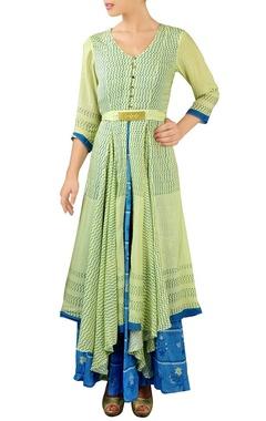 lemon green & blue layered maxi dress