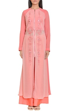Rosy pink mirror work embroidered tunic