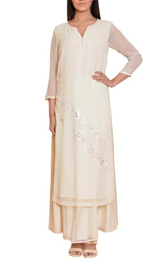 Ivory mirror work embroidered tunic