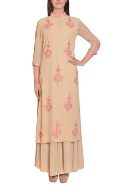 Beige and pink mirror work embroidered tunic