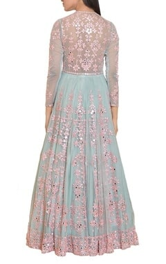 Icy blue and pink mirror work embroidered gown