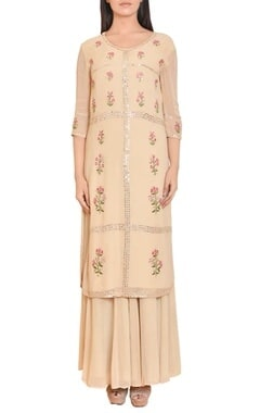 Beige floral mirror work embroidered tunic