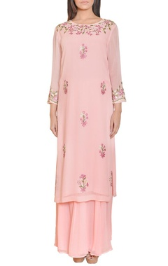 Light pink floral mirror work embroidered tunic